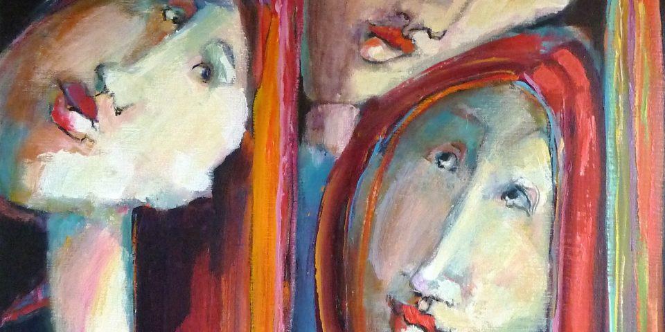 2010, gezusters II, acryl op linnen, 1.00-1.00 m